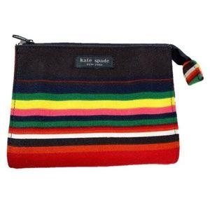 Kate Spade Striped Fabric Makeup Bag